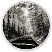 Round Beach Towel featuring the photograph October Grayscale  by Kendall McKernon