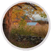 Round Beach Towel featuring the photograph October Morning 2016 by Bill Wakeley