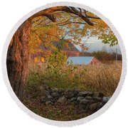 Round Beach Towel featuring the photograph October Morning 2016 Square by Bill Wakeley