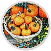 Round Beach Towel featuring the photograph October Pumpkins by Joan Reese