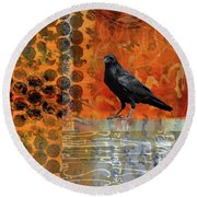 Round Beach Towel featuring the painting October Raven by Nancy Merkle