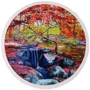 October Riot Round Beach Towel