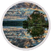 Round Beach Towel featuring the photograph October Skies by Douglas Stucky