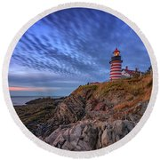 Round Beach Towel featuring the photograph October Sky At West Quoddy Head Light by Rick Berk