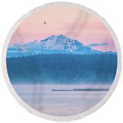 Round Beach Towel featuring the photograph October Snow by Jan Davies