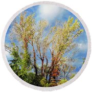 October Sunny Afternoon Round Beach Towel