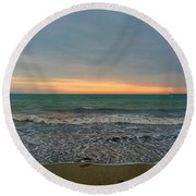Round Beach Towel featuring the photograph October Sunrise by Anne Kotan