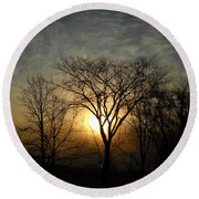 October Sunrise Behind Elm Tree Round Beach Towel by Kent Lorentzen