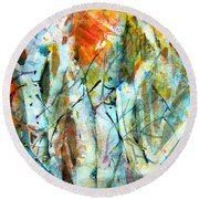 October Woods Round Beach Towel by Mindy Newman