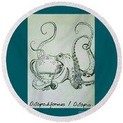Octopodiformes Octopus Round Beach Towel by Scott D Van Osdol