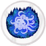 Round Beach Towel featuring the digital art Octopus And Trees by Adria Trail