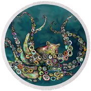 Octopus Colorful Round Beach Towel by Tim Gilliland