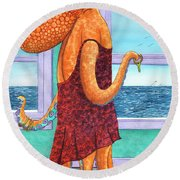 Octopus In A Cocktail Dress Round Beach Towel