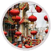 Red Lanterns Round Beach Towel