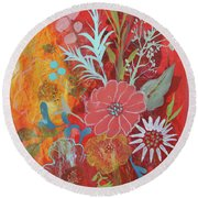 Round Beach Towel featuring the painting Ode To Spring by Robin Maria Pedrero