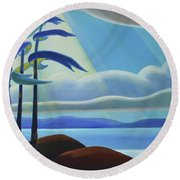 Ode To The North II - Center Panel Round Beach Towel