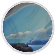 Ode To The North II - Left Panel Round Beach Towel