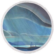 Ode To The North II - Rh Panel Round Beach Towel