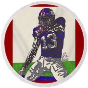 Odell Beckham Jr  Round Beach Towel by Jeremiah Colley