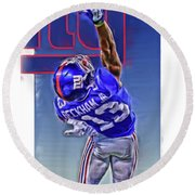 Odell Beckham Jr New York Giants Oil Art 2 Round Beach Towel