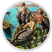 Odysseus And The Sirens Round Beach Towel by English School