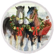 Of Christmas Past  Round Beach Towel