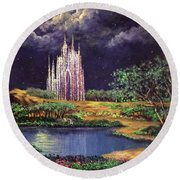 Of Glass Castles And Moonlight Round Beach Towel