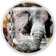 Round Beach Towel featuring the digital art Of Elephants And Men by Nola Lee Kelsey