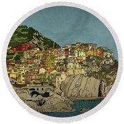 Of Houses And Hills Round Beach Towel