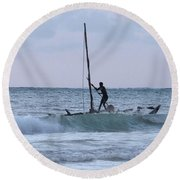 Off Fishing Round Beach Towel