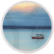 Round Beach Towel featuring the photograph Off Sailing by Stephen Mitchell