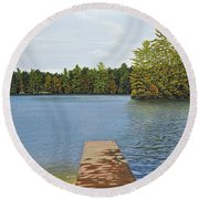 Off The Dock Round Beach Towel