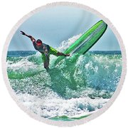 Off The Top Round Beach Towel