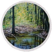 Off The Trail Round Beach Towel