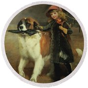 Off To School, 1883 Round Beach Towel