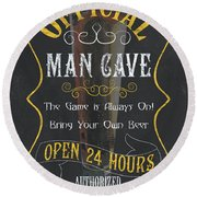 Official Man Cave Round Beach Towel