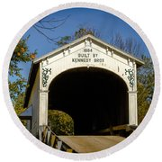 Offutt's Ford Covered Bridge Round Beach Towel