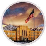 Ogden High School At Sunset Round Beach Towel