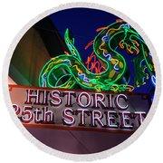 Ogden's Historic 25th Street Neon Dragon Sign Round Beach Towel by Gary Whitton