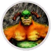 Ogre By Sarah Kirk Round Beach Towel