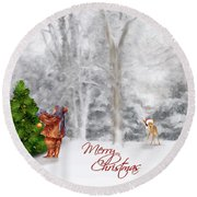 Round Beach Towel featuring the photograph Oh Christmas Tree Greeting by Mary Timman