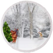 Round Beach Towel featuring the photograph Oh Christmas Tree by Mary Timman