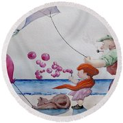 Round Beach Towel featuring the painting Oh My Bubbles by Geni Gorani