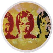 Round Beach Towel featuring the painting Oh My I Didnt Want To Hurt You by Jayime Jean