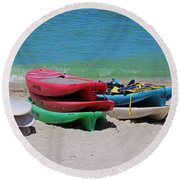 Round Beach Towel featuring the photograph Oh The Beach Life by Michiale Schneider