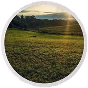Round Beach Towel featuring the photograph Oh What A Beautiful Morning by Kendall McKernon