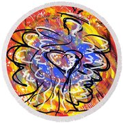 Oh, Winged World Round Beach Towel