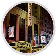 Round Beach Towel featuring the photograph Ohio And State Theater by Frozen in Time Fine Art Photography