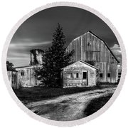 Ohio Barn At Sunrise Round Beach Towel