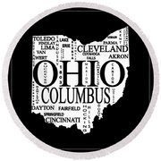 Round Beach Towel featuring the mixed media Ohio City Typography Map by Dan Sproul
